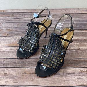 Cynthia Vincent Black Leather Stud Sandal Pump